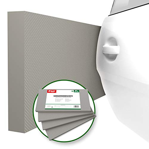 ATHLON TOOLS 4x MaxProtect Premium Garagen-Wandschutz selbstklebend | je 40 x 20 x 2,0 cm |Rammschutz Prallschutz Garagenpolster Türkantenschutz (Grau)