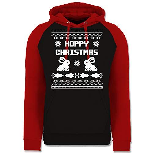 Preisvergleich Produktbild Weihnachten & Silvester - Ugly Christmas I Hoppy Christmas Hase - L - Schwarz / Rot - JH009_Baseball_Hoodie_Unisex - JH009 - Baseball Hoodie