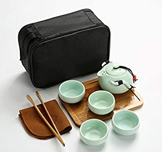 Annpee Handmade Chinese/Japanese Vintage Kungfu Gongfu Tea Set - Porcelain Teapot & Teacups & Bamboo Tea Tray & Tea Mat wi...