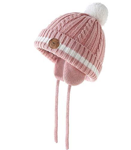 AHAHA Baby Wintermütze - Unisex Gestrickte Pompon Cotton Babymütze für Jungen und Mädchen
