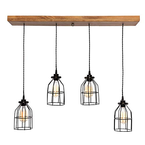 West Ninth Vintage Fayette Wood Pendant Chandelier Light - Farmhouse Rustic Lighting for Kitchen Island - Dining Room - Bar - Industrial - Billiard Table - Edison Cages - 4 Pendants – Early American
