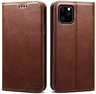 Business style iPhone 11 leather phone case flip cover with card holder anti fall protective sleeve brown
