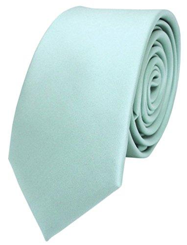 TigerTie schmale Satin Krawatte in mint blassmint grün einfarbig uni