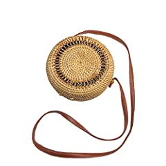 HANDWOVEN - AKIWOS's round rattan bag is 100% handmade, natural, unique and chic, which is made from natural rattan vines with elaborate handwoven knit by talented artisans in Bali. And smoked over coconut husk as part of the finishing process and th...