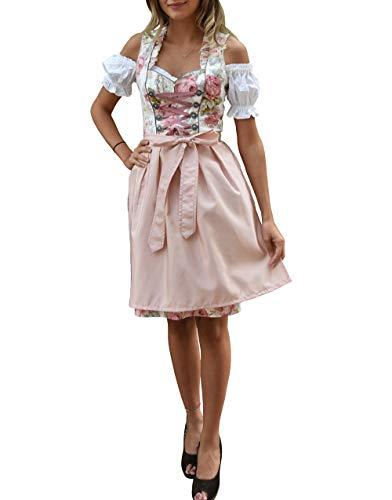 Golden Trachten Dirndl 3 TLG, Damen Midi Trachten-Kleid für Oktoberfest, Rosa Grün geblümt, 514GT (38)
