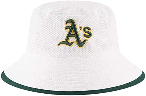 100% Authentic, NWT, MLB Hex Stretch Bucket Hat Team Color/White Size: OSFM (Oakland A's White)
