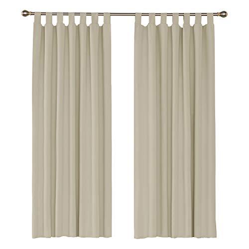 UMI. Essentials 2 Schals wärmeisolierende Verdunklungsvorhang Blickdicht Gardine Schlaufen Vorhänge 140x175 cm Creme