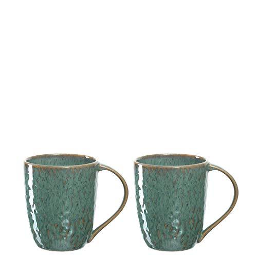 Leonardo Tasse Matera 2-er Set, 430 ml, Set aus 2 Keramik Tassen, spülmaschinengeeignet, mit Glasur, grün, 026991