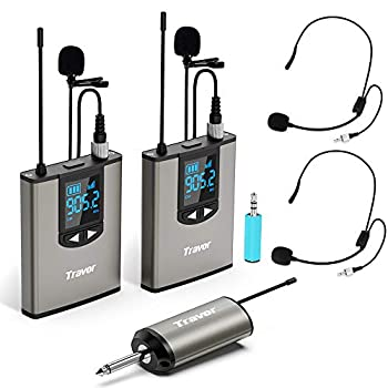Travor Dual Wireless Lavalier Microphone System with Headset/Lapel Mics with Noise Reduction for DSLR Camera Smartphones PA Speaker Podcast YouTube Interview Vlogging Video Recording