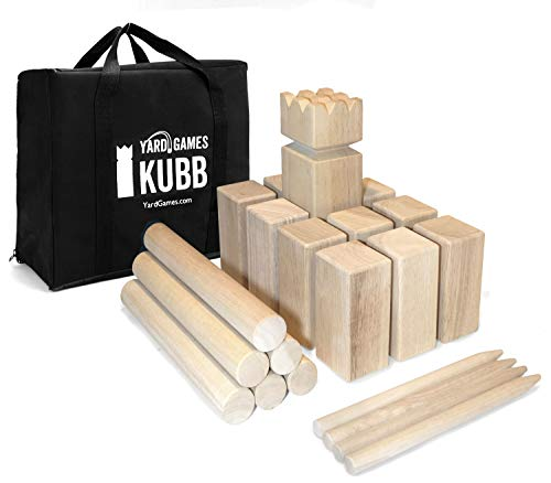 Yard Games Kubb Regulation Size Outdoor Tossing Game with Carrying Case, Instructions, and Boundary Markers
