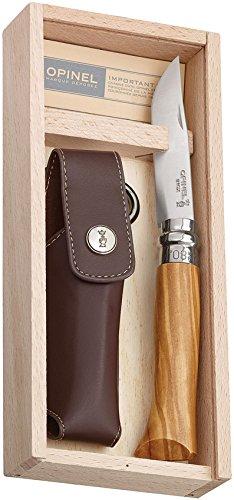 OPINEL - N°08 Luxe Olivier et Étui Alpine Brun - Couteau Pliant de Poche Bois d'Olivier - Acier Inoxydable - Coffret Bois Couteau - Lame Inox 8,5 cm