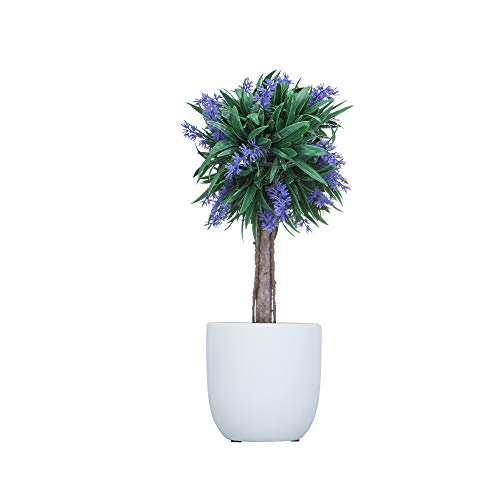 Decorative Lavender Plants - Artificial Boxwood Topiary Tree, Lavender Ball - Faux Tabletop Plant with Ceramic Pots , 13.5 Inches