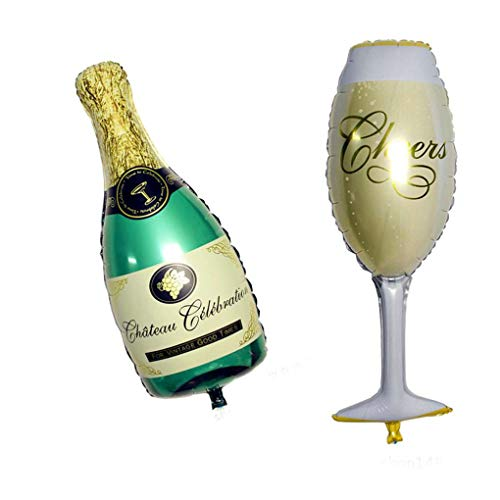 Guangcailun 2pcs Champagne Cup Beer Bottle Foil Balloons Happy Wedding New Year Celebration Party Balloon