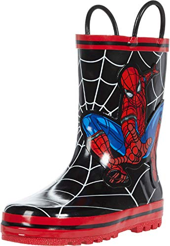 Favorite Characters Boy's Spider-Man Rain Boots F20 SPF504 (Toddler/Little Kid) Black 10 Toddler M