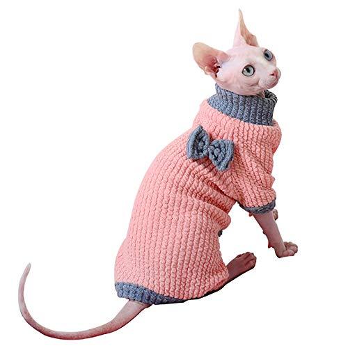 Hmpet Katzen Kleidung Sphynx gepolsterter Pullover haarlose Katze warm Winter warm Pullover Outfit, Mode High Collar Coat für Katzen Pyjamas für Katzen und kleine Hunde,Rosa,XXL