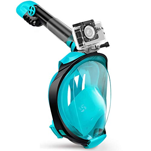X99 Snorkel Mask Foldable 180 Panoramic View Free Breathing Full Face Snorkeling Mask with Detachable Camera Mount, Dry Top Set Anti-fog Anti-leak for Adults & Kids (Green, S/M)