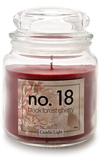 HEITMANN DECO Candle Light No.18 - Deko Duftkerze im Glas mit Deckel - großes Windlicht - Dekoration - Duft: Black Forest Cherry (Fruchtig Süß Kirsche Duft)
