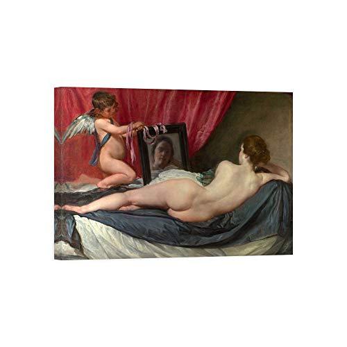 DìMò ART Bild auf Leinwand mit Holzrahmen Diego Velázquez The Toilet of Venus messen 80x60 cm (31,49x23,68 inches)