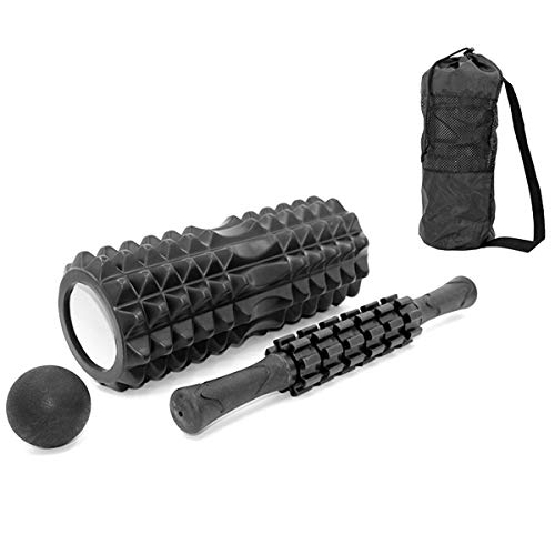 New SOONHUA 4-in-1 Yoga Roller Set Massage Roller + Muscle Roller Stick + Lacrosse Ball with Carryin...