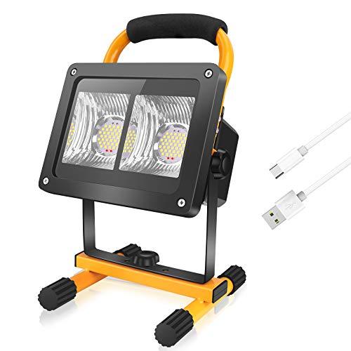 Coquimbo Projecteur LED Rechargeable, 40W 5000LM Projecteur Chantier, Lampe de Travail Portable IP65 Imperméable, Projecteur LED Exterieur de Sécurité ldéal pour Chantier Atelier Garage Jardin