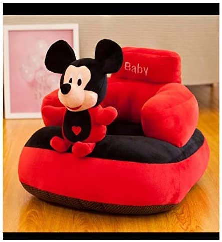 Homescape Baby Soft Plush Cushion Baby Sofa Seat Or Rocking Chair for Kids(use for Baby 0 to 2 Years)-Red and Black