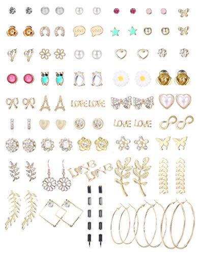 CASSIECA 47 Paare Verschiedene Mehrere Ohrstecker Ohrringe Set für Damen Mädchen Einfache Kleine Ohrringe Creolen Groß Runde Kreolen Ohrschmuck Mode Mädchen Schmuck