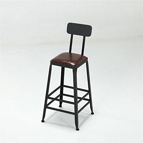 GHM Bar Chaises Chaise Haute Iron Art Bar Tabouret Simulation en Bois Massif Cuir Siège de Chaise Souple Surface Avoir Dossier Chaise Asseyez-Vous Haut (Taille : 80cm)