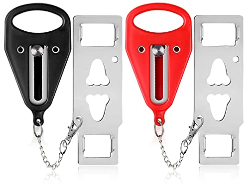 Portable Door Lock-2 Pack Solid Heavy Duty Door Extra Lock for Additional Privacy and Safety in Hotel, Apartment,and Prevent Unauthorized Entry in Traveling, AirBNB, Hotel, Home, Apartment and School