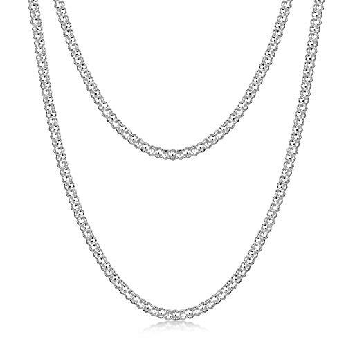 Amberta® Gioielli - Collanina - Catenina Argento Sterling 925 - Modello Pop corn - Larghezza 2.5 mm - Lunghezza: 40 45 50 55 60 cm (45cm)