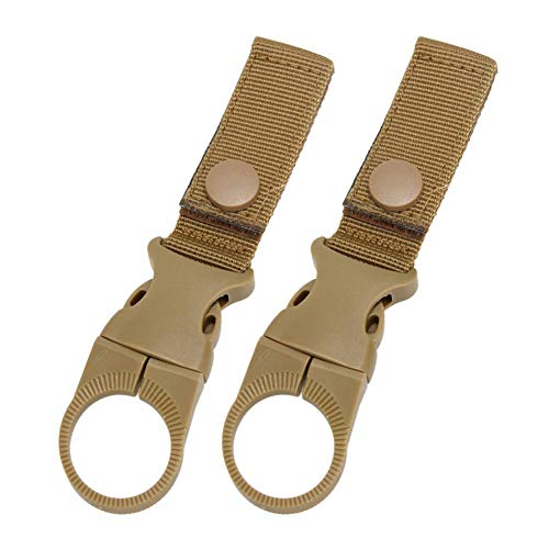 N/F Outdoor Accessories 2pcs Portable Nylon Water Kettle Clips Carabiner Hanger Clamp Tools(Brown)