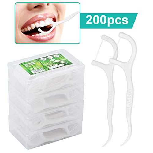 Zahnseide Dental Floss 200 Stück Zahnseide Stick mit Zahnstocher Halter, Zahn Draht/Zahnpflege Interdental Flossers mit Y-Form Design, Disposable Zahnseidensticks/Zahnreiniger Sticks