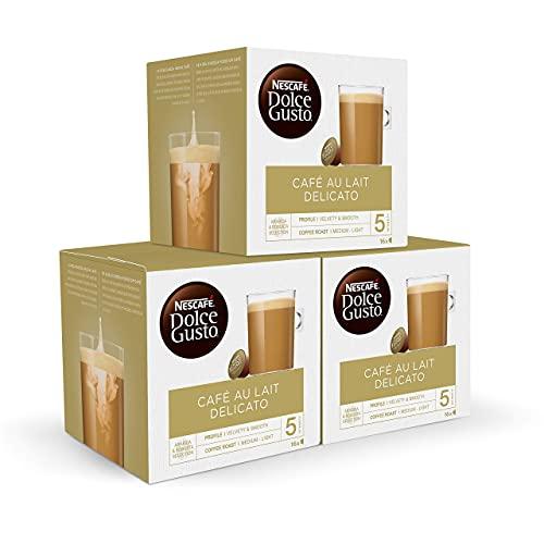 Nescafé DOLCE GUSTO CAFÉ CON LECHE DELICATO - Pack De 3 x 16 cápsulas - Total: 48 Cápsulas