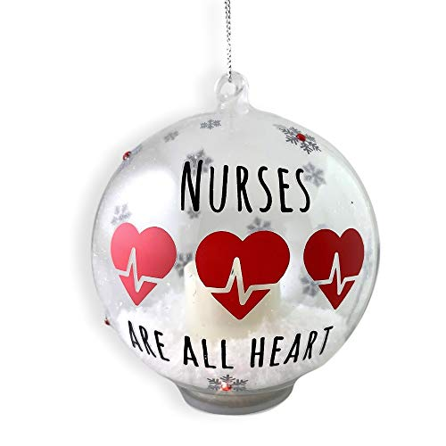 BANBERRY DESIGNS Nurse Ornament – Glass Ball Christmas Ornament with LED Votive Candle and Glitter...