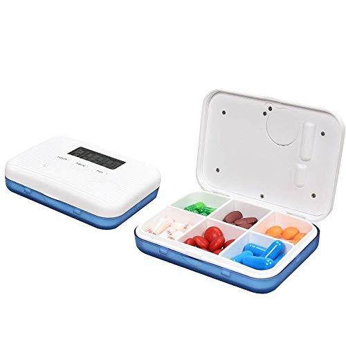 Pillendose mit elektronischem Elektronik-Uhr, mit Alarmfunktion, tragbar, mit 6 Fächern, für Pillen, Blau