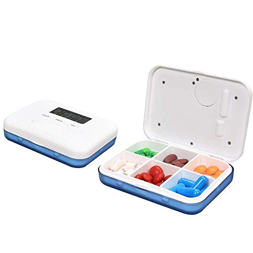 Contever Digitale Pillendose Wecker Pillenbox Timer Alarm Pillen Elektronische Pillenbox Pillentimer, Tragbar Tablettenbox mit 6 Fächer Lagerung Für Reisen Outdoor Aufbewahruung, Blau