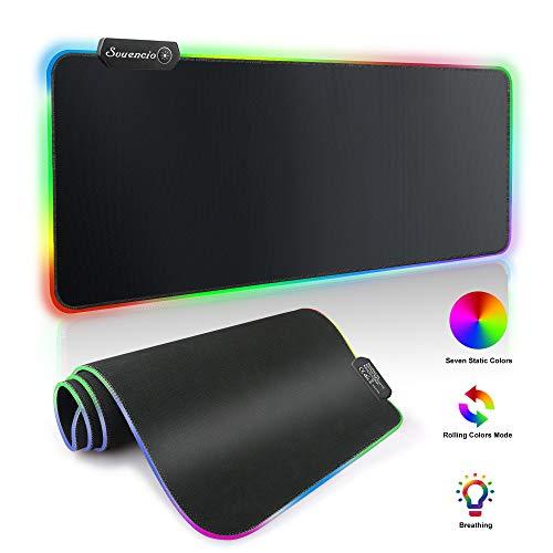 S SVUENCIO RGB Gaming Mauspad Groß-800×300×4 mm Rutschfest Gummierte Unterseite Waschbar Verschleißfest Schwarz, Mauspad XXL Unterstützt 14 Modi der RGB-Spektrumbeleuchtung