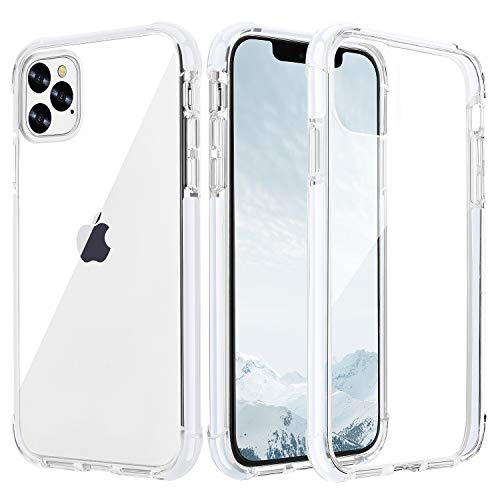 OHNICE iPhone 11 Pro Max Case Clear Premium Anti-Yellow Hard PC Back Cover with Soft Crystal Corners Rubber Bumper Shockproof Protective Case for Apple New iPhone 11 Pro Max 6.5 inch (White)