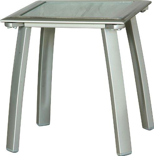 IB-Style - Table Basse Diplomat alu-Mat argenté/Verre crystel 41x41 cm pour Bain de Soleil et pour Salon de Jardin