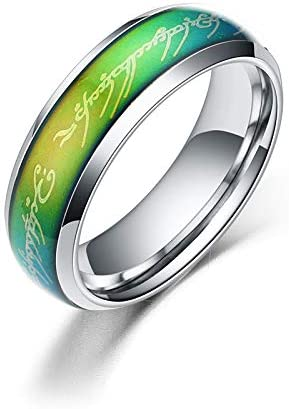 The One Ring Lord The Rings Style Tungsten Ring Gold Color Lord Rings Laser Etched 4mm Stainless Steel Temperature Sensative Color Changing Wedding Band Mood Ring