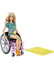 Barbie GRB93 – Fashionistas docka med rullstol och långt blont hår, jumpsuit med tropiskt mönster, orange skor och citronmidjeväska, leksak för barn från 3 till 8 år