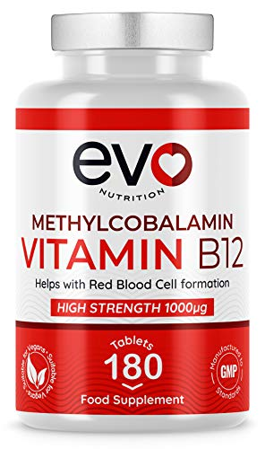 Vitamin B12 Methylcobalamin 1000mcg Tablets | Reduction of Tiredness and Fatigue | 6 Month Supply | Vegetarian & Vegan | High Strength | B12 Supplement | Easy to Swallow
