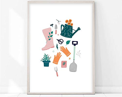 N / A Garden/gardening/watering can/sunflower/gardening/flowers/gloves/seeds/Wellington boots/candy family frameless decorative painting A19 60x90cm