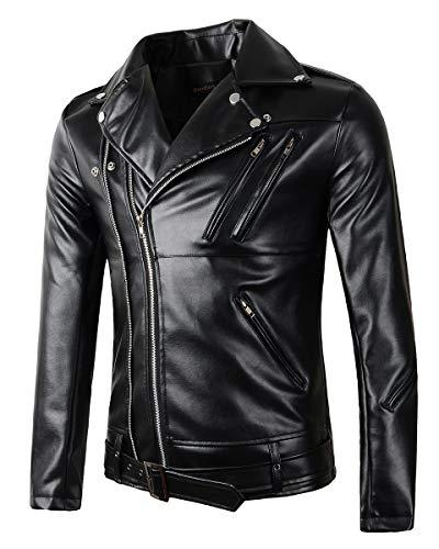 Beninos Mens Faux Leather Motorcycle Jacket (Y105, M) Black