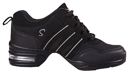 Zapatos de baile Danza moderna zapatos de jazz movimiento zapatos de la aptitud (EU38, Negro y gris)