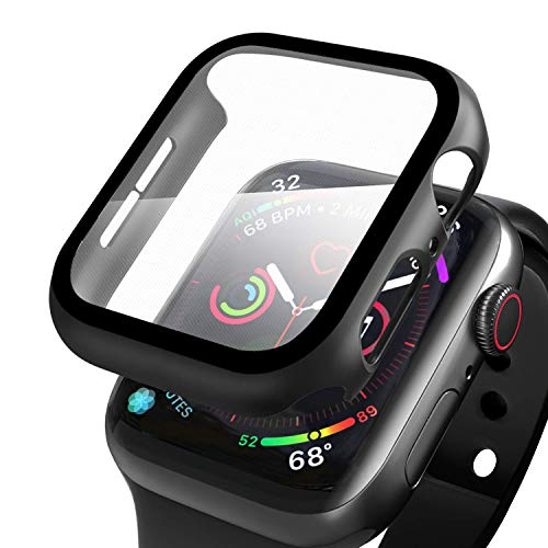 Wenearn Compatibile con Apple Watch 44mm Custodia PC + Pellicola Protettiva, Thin Fit Progettato per Apple Watch 44mm Series 5/4 Case Cover [Copertura Completa] [HD Clear] [Anti-Graffio], Nero