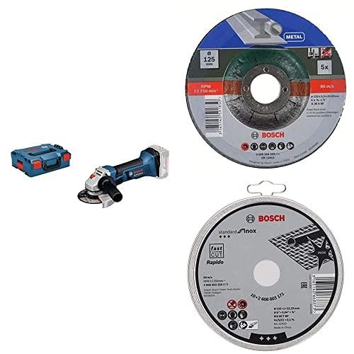 Bosch Professional Amoladora angular, 10.000 rpm, diámetro disco 125 mm, sin batería y cargador, en L-BOXX + 5 discos de corte para metal + 10 discos de corte Standard for Inox en lata metálica