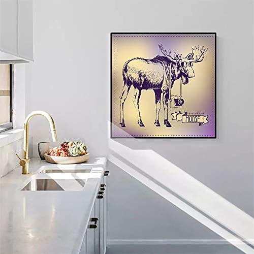 YuanMinglu Elch Leinwand Malerei Mode Tier Poster und Wandbilder Kinderzimmer Nordic Home Decoration rahmenlose Malerei 50X50CM