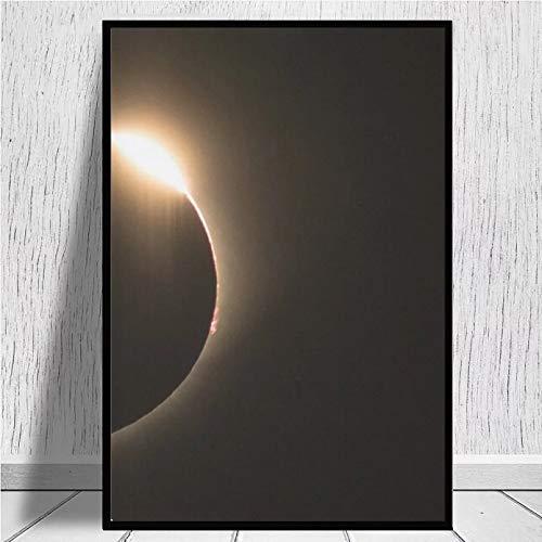 N/A Eclipse Solar Anillo De Diamantes Impresiones En Lienzo Arte De La Pared Impresión En Lienzo Tela De Seda Póster De Pared Arte Decoración Pegatina Brillante Dormitorio Navidad Hogar Decor Regalo