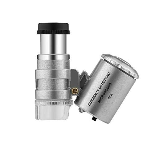 Togames-DE Handheld-Geldprüfgerät 60X Währungserkennung Mikroskop Lupe LED UV