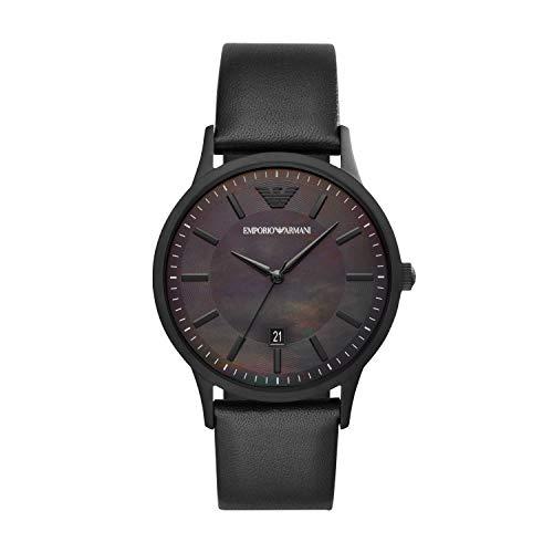Emporio Armani Herren Analog Quarz Uhr mit Leder Armband AR11276